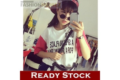 CLEARANCE   Fashionhomez 14675 New Korean Wild Loose Short-sleeved Letter