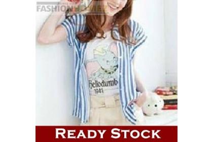 CLEARANCE   Fashionhomez 29516 Lace Striped Shirt