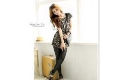 CLEARANCE   Fashionhomez 59105 Shoulder lace leopard top