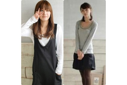 CLEARANCE   Fashionhomez 80719 Simple Plain Long Sleeve Casual T-Shirt ( Grey )