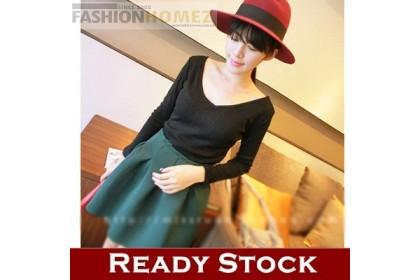 CLEARANCE   Fashionhomez 7850 V-neck thread long-sleeved slim (Black)