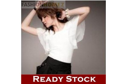 CLEARANCE   Fashionhomez 80462 Sexy Blouse with Bow Wavy Sleeve ( White )