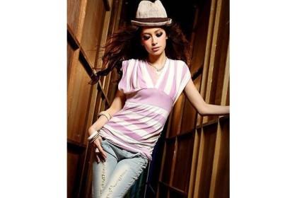 CLEARANCE   Fashionhomez 56501 Deep V Cotton Striped T-Shirt ( Pink )