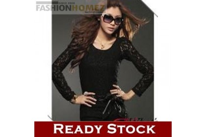 CLEARANCE   Fashionhomez 81014 New Lace Black Shirt