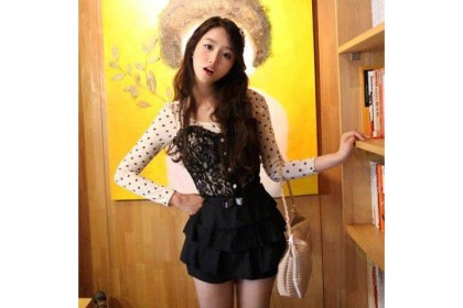 CLEARANCE   Fashionhomez 80950 New Small Dot with Lace White Shirt ( shirt only )