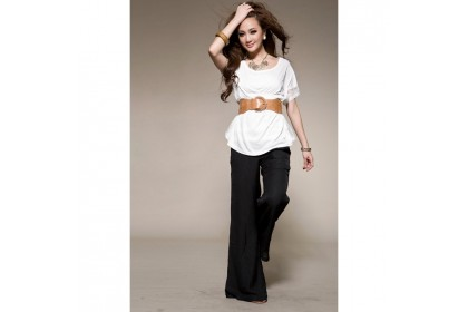 CLEARANCE   Fashionhomez 81251 New ruffle white blouse ( exclude belt )