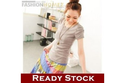 CLEARANCE   Fashionhomez 81202 New short sleeve with back lace shirt ( Grey )