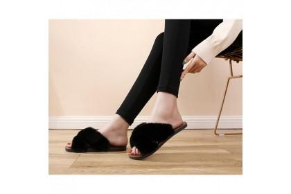 Fashionhomez 8137 Hairy Cross Slipper ( size 36-40 )