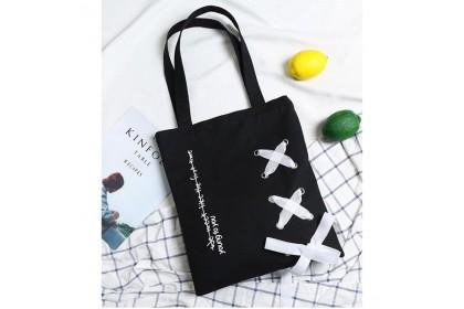 Fashionhomez BW5432 Ribbon Canvas Shoulder Bag