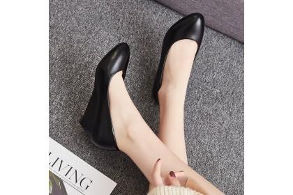Fashionhomez 8149 Ivon Black Simple Wedges ( size 35 - 40 )