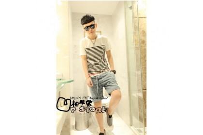 Fashionhomez 2523 Mens Short Sleeve T-shirt Trend Stripes