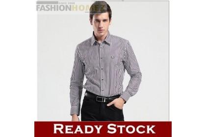 Fashionhomez 3853 Mens Long-Sleeved Shirt Striped Shirt Slim