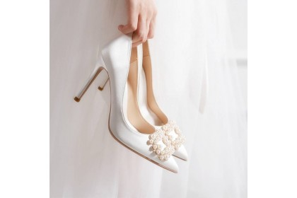 Wendy Fashionhomez 8225A  square buckle wedding heels